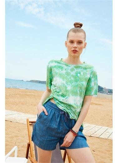 Latin Quarter Batik Desenli Önü Düğümlü T-shirt Yeşil